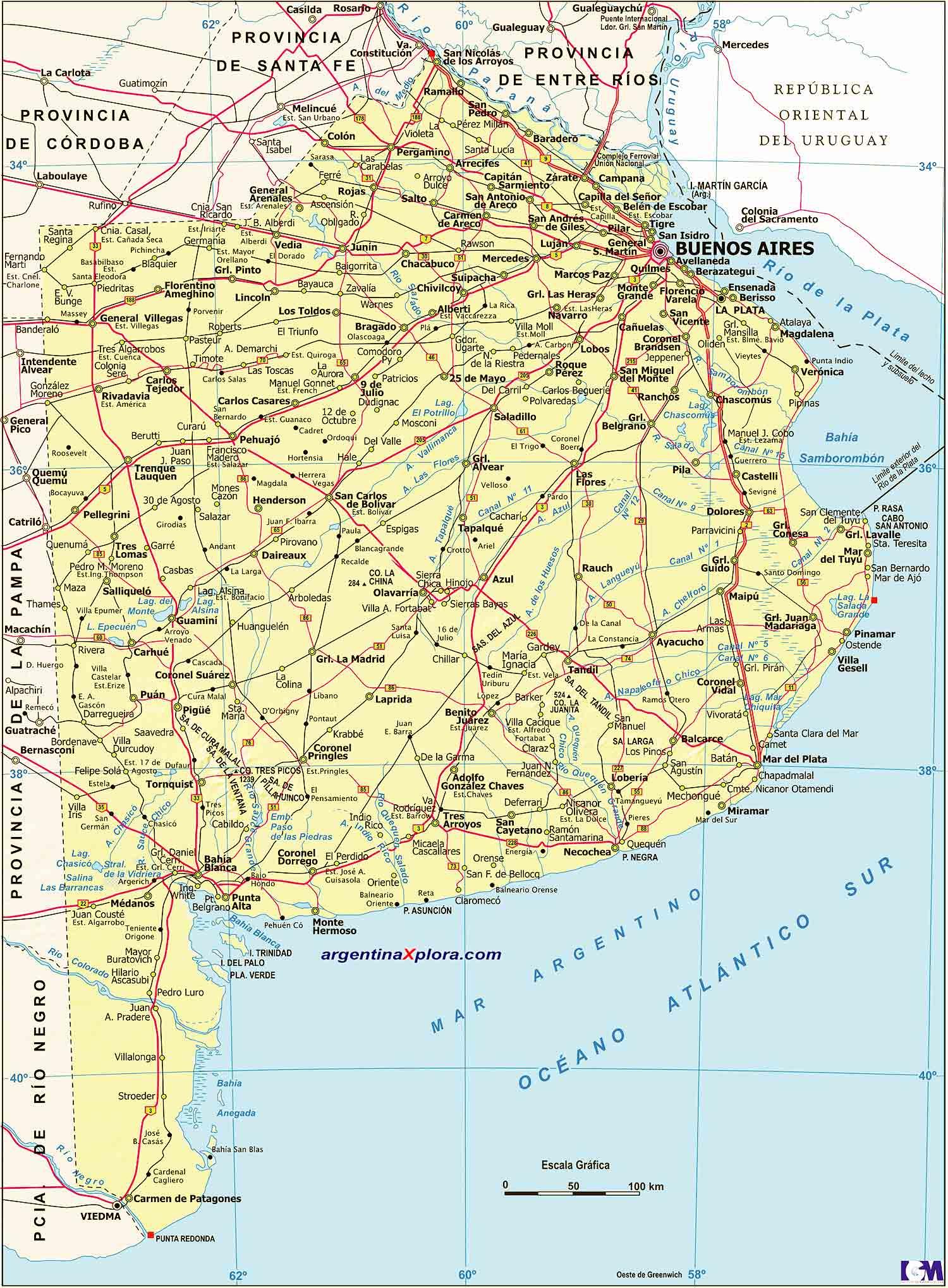 Mapa de la Provincia de Buenos Aires