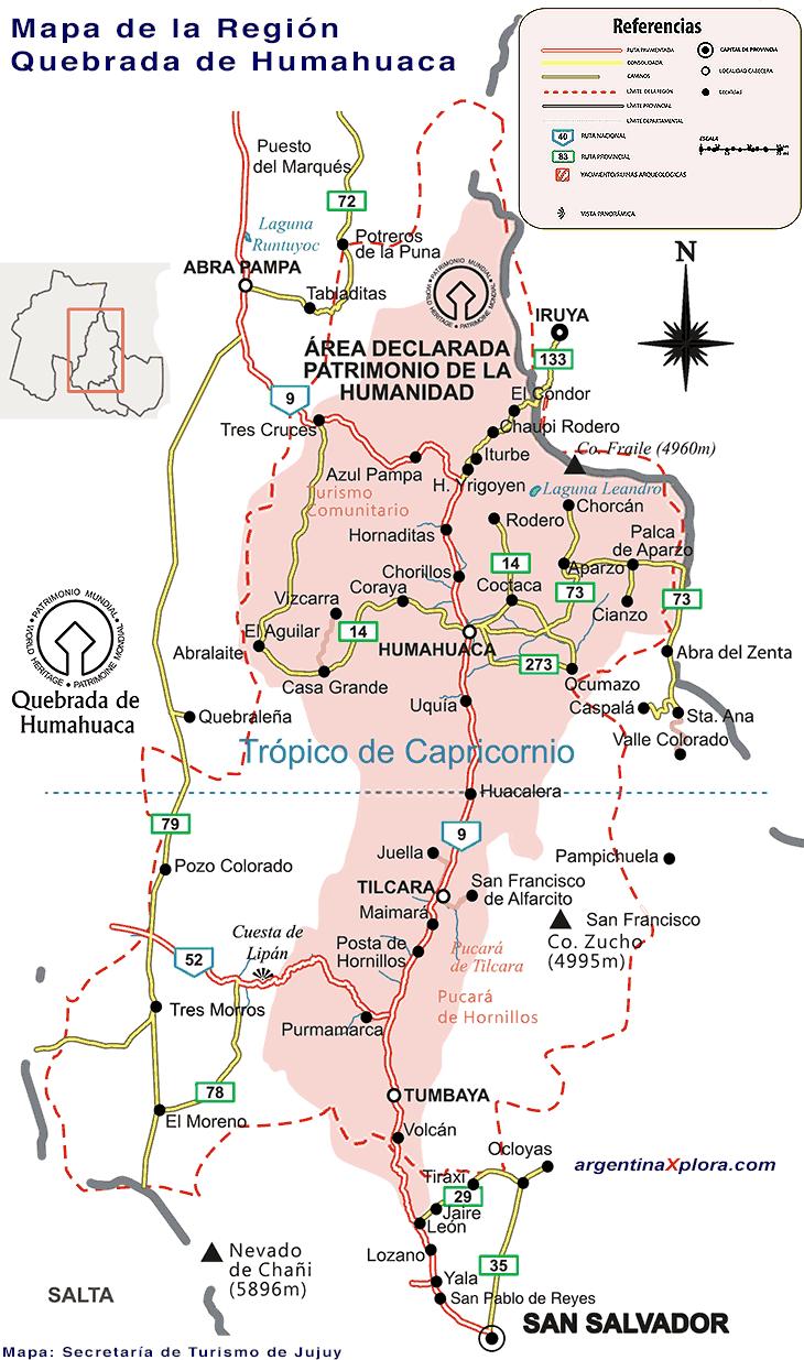 Mapa de la Quebrada de Humahuaca Argentina Mapa de la Quebrada de